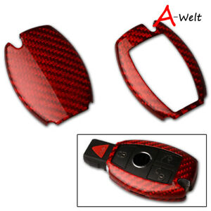 Red Carbon Fiber Remote Smart Key Case Holder Cover For Mercedes Benz All Class