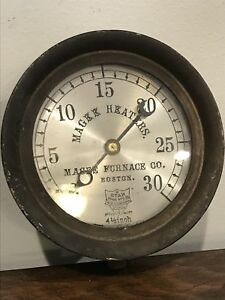 5 Star Brass Steam Gauge Antique 1889 Industrial Decor Magee Furnace Heaters