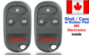 2x New Replacement Keyless Remote Key Fob For Honda Accord Acura Shell Only