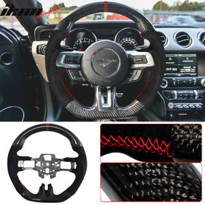 Fits 15 17 Mustang V3 Style Steering Wheel Cf With Suede Leather Red Ring