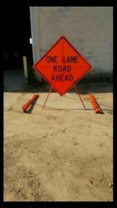 Traffic Control 48x48 Roll up Mesh Sign With Rib And Tripod Stand