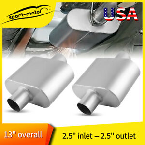 Pair Universal Single Chamber 2 5 Center Inlet Outlet Performance Race Mufflers