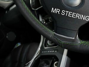 For Jaguar X type 01 09 Black Leather Steering Wheel Cover Green Double Stitch