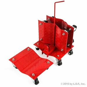 4 Red 12 Wheel Auto Car Dolly 16 Wide Skate 6000lb Hd Slide W Storage Rack