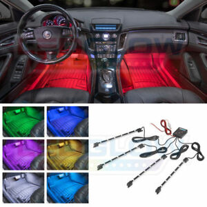 Ledglow 4pc 7 Color Led Interior Light Kit For All Cars Accent Neon Glow Lu 47c