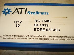 New Lot Of 10 Ati Stellram Carbide Inserts No Rg 750s Sp1019