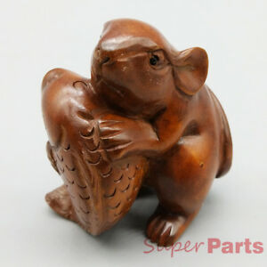Hand Carved Japanese Boxwood Netsuke Mouse Rat Fish Dark Wood Color Figurine