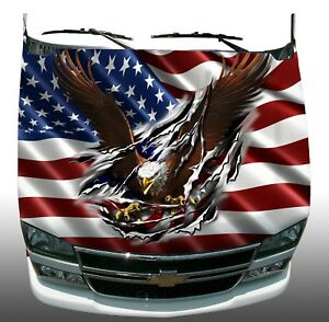 American Flag Eagle Rip Hood Wrap Wraps Sticker Vinyl Decal Graphic Style B