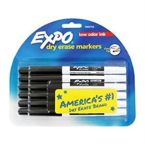 Expo 12 piece Black Ink Office School Low Odor Dry Erase Fine Point Pen Markers