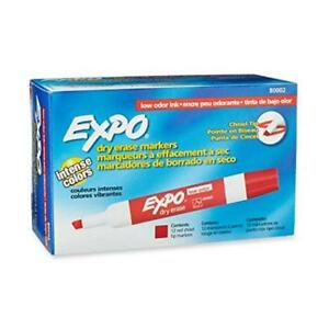 Expo 12 piece Red Low Odor Chisel Tip Dry Erase Markers Office School Supplies