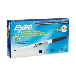 Count 12 Expo Dry Erase Markers Fine Point Black Quick drying Non toxic Made New