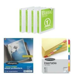 Bundle Binder 100 Sheet Protectors 8 Tab Dividers Wilson Jones Gift Xmas New