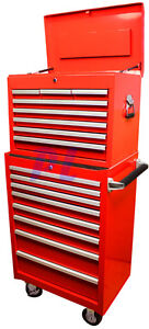 26 Industrial Roller Cabinet Box Set 16 Drawers All Steel Tool Storage Case