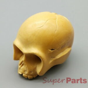 Hand Carved Japanese Boxwood Netsuke Skull Head Skeleton Cranium Wood Color
