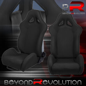 For Mazda Heavy Duty Reclinable Racing Bucket Seat Chair Black Cloth Slider