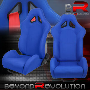 Reclinable Sport Racing Bucket Seat Blue Cloth Bottom Mount Slider