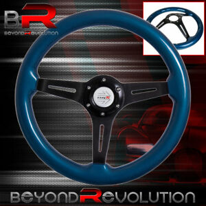 Deep Dish Steering Wheel Black Aluminum Center Blue Wood Type R Horn Button