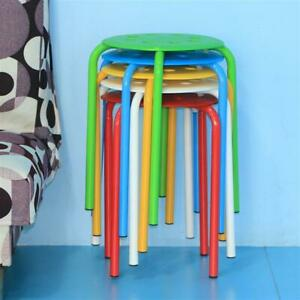 Set Of 5 Plastic Stack Stools Portable Round Top Stackable Bar Stools Seating
