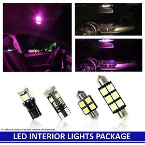 Pink Interior Led Lights Bulb Package For 2013 2016 Fiat 500 500e Electric Car