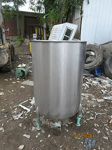 Stainless Steel 100 Gal Mixing Tank On Stand W Drain And Agitation Prop