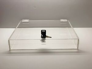 Acrylic Square Countertop Display Case Lock Box 14 X 14 X 2 Box Display
