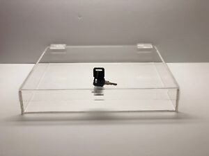 Acrylic Square Countertop Display Case Lock Box 18 X 18 X 2 Box Display