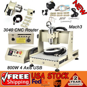 4 Axis Usb Vfd 800w 3040 Cnc Router Engraver Drilling Mill Carve Machine Desktop