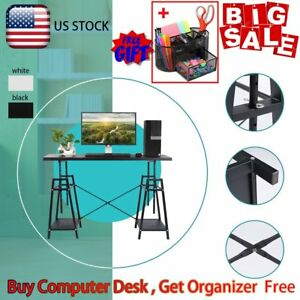 Icoco Adjustable Steel Wood Desktop Computer Desk Table Home Office Furniture
