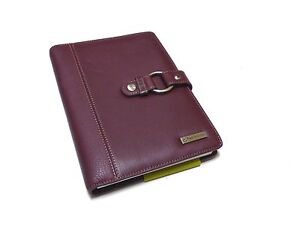 New Franklin Covey Full Grain Leather Organizer Planner Red Burgundy Notebook
