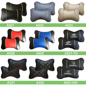 2pc Universal Car Seat Head Neck Rest Pillow Auto Headrest Bone Shape Pillow