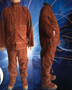 Leather Welding Brown Jacket Coat Trousers Protective Clothing Suit For Weld