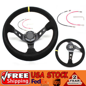 Deep Dish 350mm 6 Hole Leather Yellow Stitch Racing Jdm Steering Wheel Horn