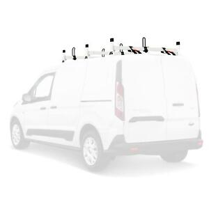 H1 3 Bar Aluminum Ladder Roof Van Rack Fits Ford Transit Connect 2014 On White