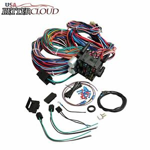 Universal Wire 12 Circuit Wiring Harness For Chevy Mopar Ford Street Hot Rod