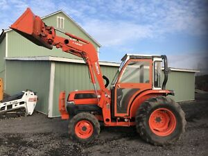 2005 Kubota L4330 Hst 4x4 Diesel Tractor Enclosed Cab Heat Great To Plow Snow