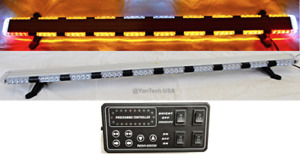 56 Amber Led Warning Light Bar Flat Bed Tow Truck Plow Ems Police Car Flashing