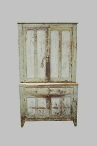 Antique Early American Painted Pennsylvania Farmhouse Step Back Cupboard