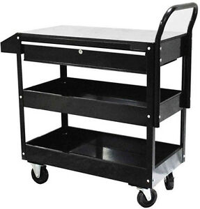 36 Metal Steel Roller Tool Box Cart 1 Drawer Tool Rolling Part Bin Storage blk