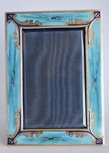 Vintage Italian Marbled Turquoise Enamel Sterling Silver Photo Picture Frame