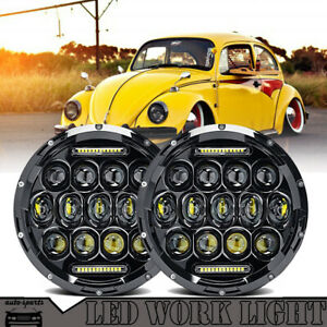 7 Inch Led Headlights Upgrade Hi Low Beam Round Kit For Vw Beetle Classic