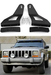 Led Light Bar Mounting Brackets 52 50 Curved For Jeep Cherokee Xj 1984 2001