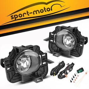 For 2007 2009 Nissan Altima 4dr Clear Bumper Fog Lights Lamps Wiring Switch Pair