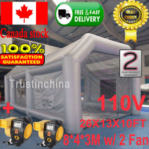 Inflatable Giant Grey Car Workstation Spray Air Paint Booth Tent 8 4 3m W 2 Fan