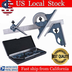 12 Combination Tri Square Set Angle Finder Protractor Level Sae Metric Hp