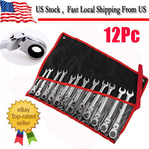 12pcs 8 19mm Metric Flexible Ring Head Ratchet Wrench Spanner Tool Set W Bag Oy
