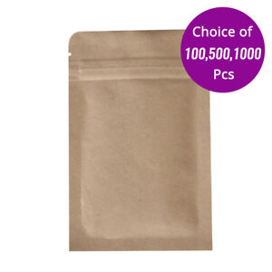 3 5x5 5in Flat Double sided Beige Kraft Paper Zip Lock Pouch Bag W Machine N03