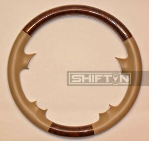 Tan Leather Wood Steering Wheel Cover Mercedes Benz W209 C209 A209 Clk320 Sl500