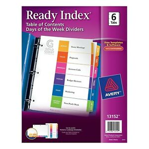 Lot Of 12 Avery Ready Index 6 tab Days Of The Week Dividers 13152 8 5 X 11