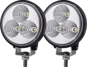 2 Pcs 4inch 27w Round Flood Beam Led Work Light Driving Fog Lights Front Bumper