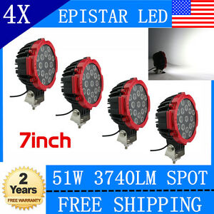 4x 7 inch 51w Led Driving Light Spot Beam Offroad Truck 4x4 Round Red Fog Lamp